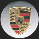 Porsche Centre Caps 970 Concave Coloured Crest
