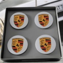 Porsche Centre Cap Set 9A1 Silver Convex Coloured Crest