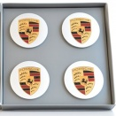 Porsche Centre Cap Set 8Z8 Silver Convex Coloured Crest