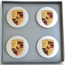 Porsche Centre Cap Set 88Z Silver Convex Coloured Crest