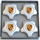 Porsche Centre Cap Set Star 9A1 Silver Coloured Crest