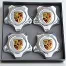 Porsche Centre Cap Set Star Polished 9A1 Silver Coloured Crest