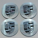 Porsche Centre Cap Set Polished Silver Monochrome Crest