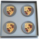 Porsche Centre Cap Set Concave Titanium Grey Coloured Crest