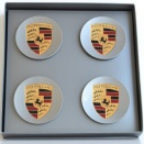 Porsche Centre Cap Set Concave Titanium Silver Coloured Crest