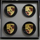 Porsche Centre Cap Set Concave Plain Black Coloured Crest