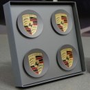 Porsche Centre Cap Set Concave Platinum Coloured Crest