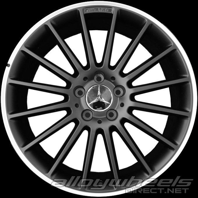 19 Quot Amg V 16 Spoke Wheels In Matt Black With High Sheen Rim Edge Alloy Wheels Direct 1061285